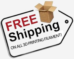 We're offering free shipping on all 3D printing filament this month!